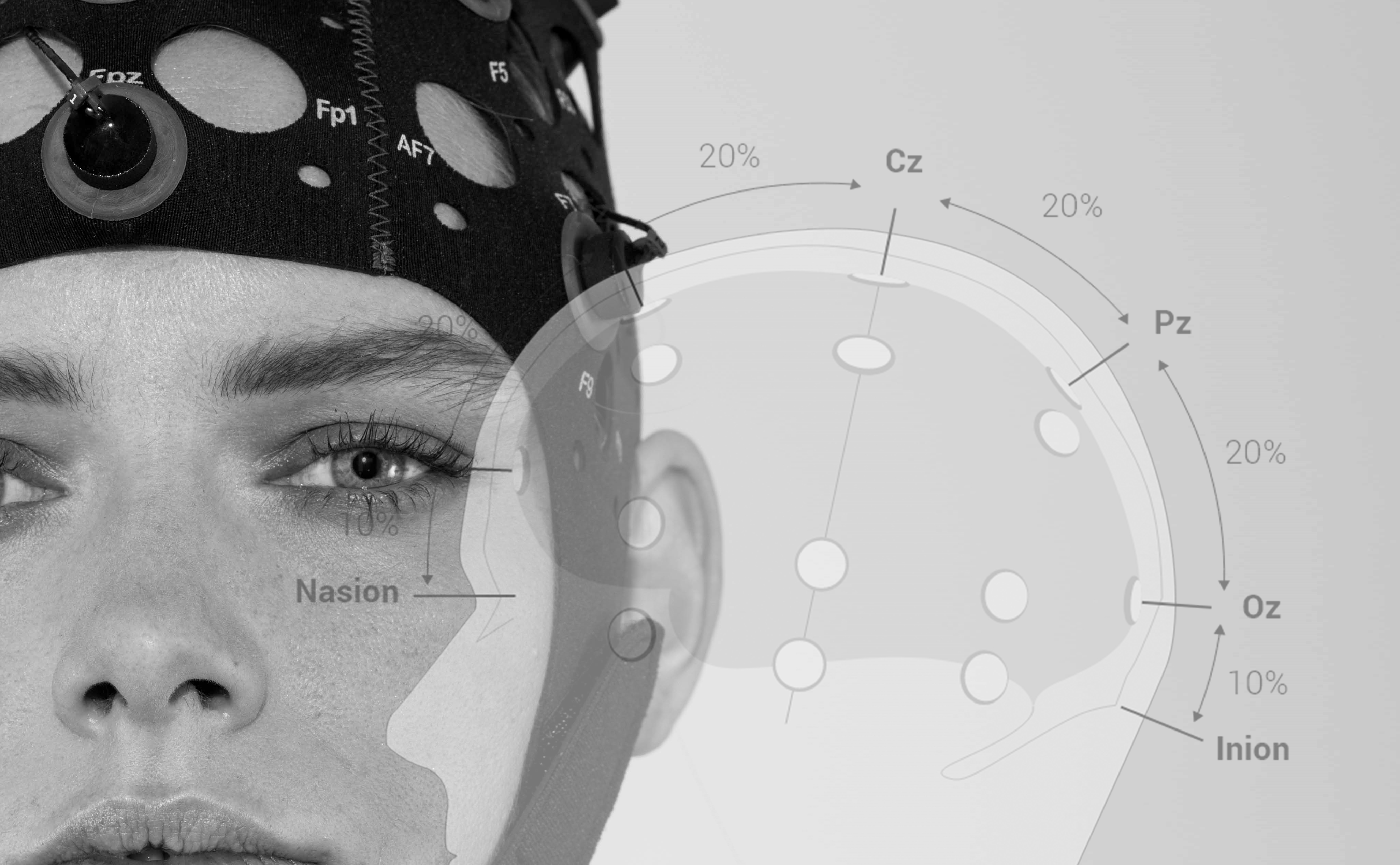 girl wih a variable EEG electrode placement
