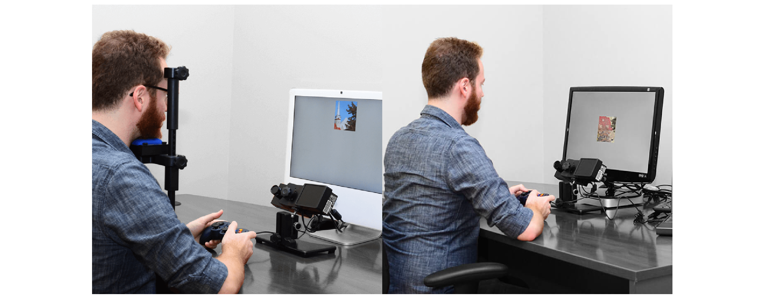 Man in an Head-Stabilized Eye Tracking experiment