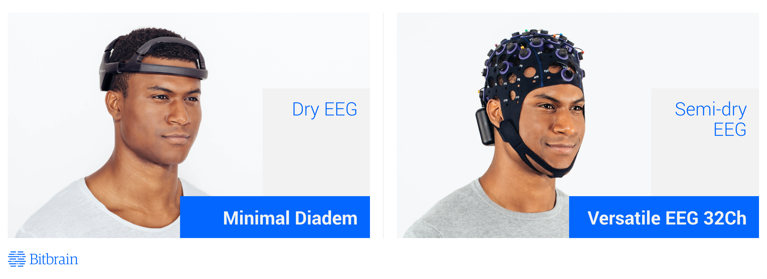 Two photos of two types of eeg: semi-dry and dry electrode eeh headset