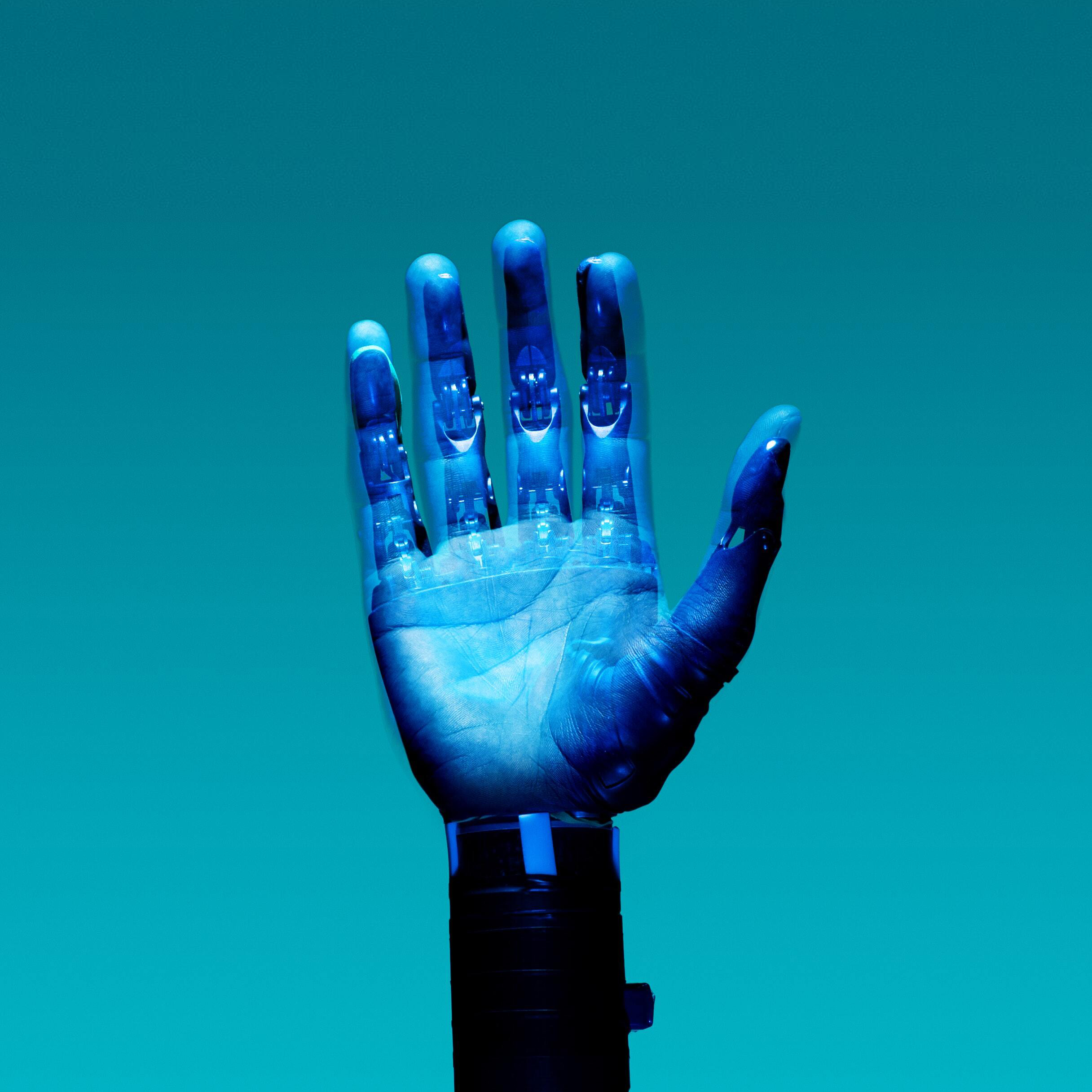 robotic hand extended