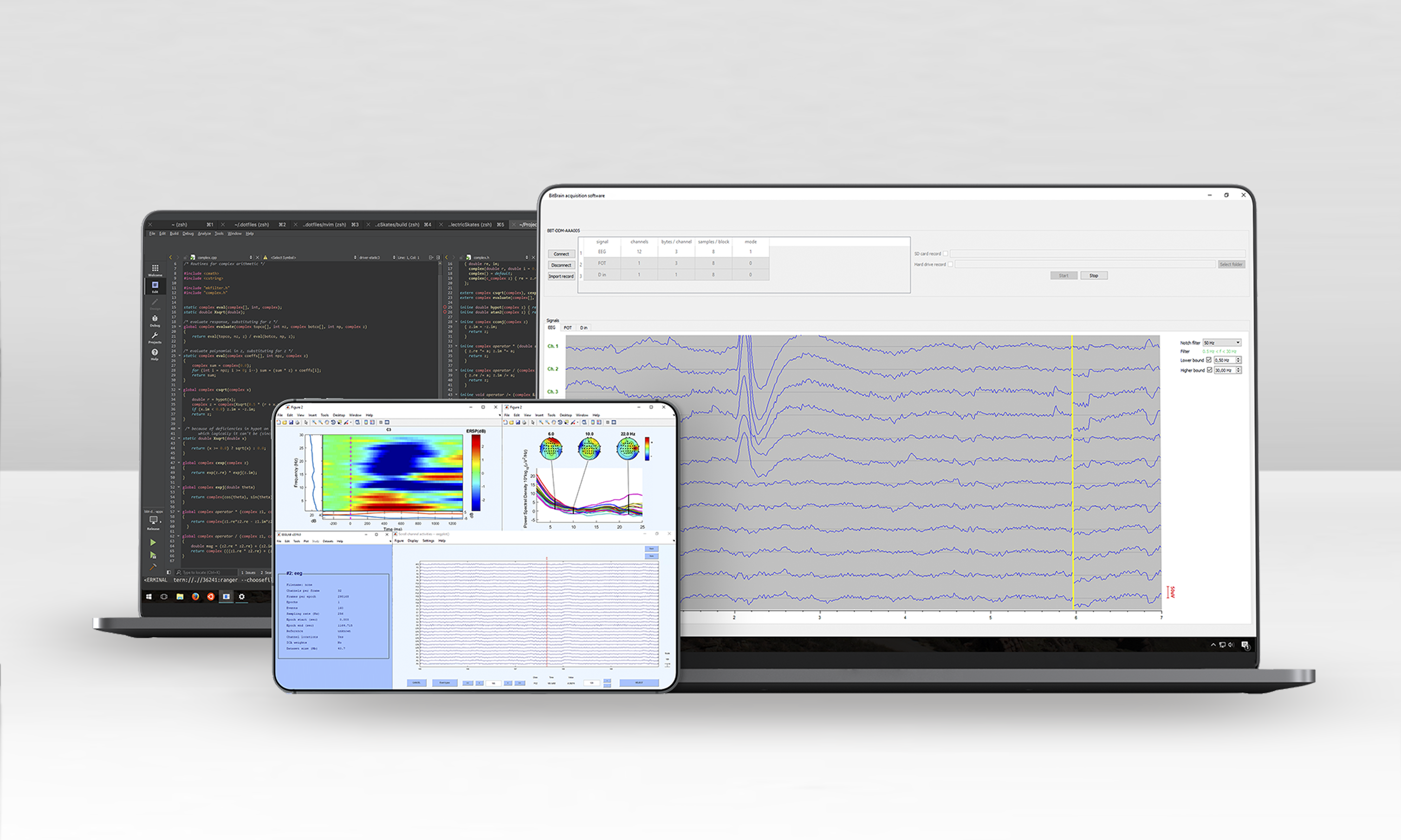 software for eeg monitoring and raw data visualization in real time