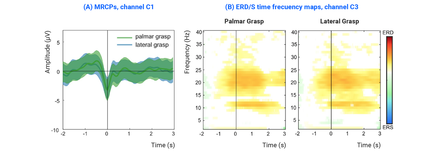 EEG correlates for grasping actions using dry-eeg headset