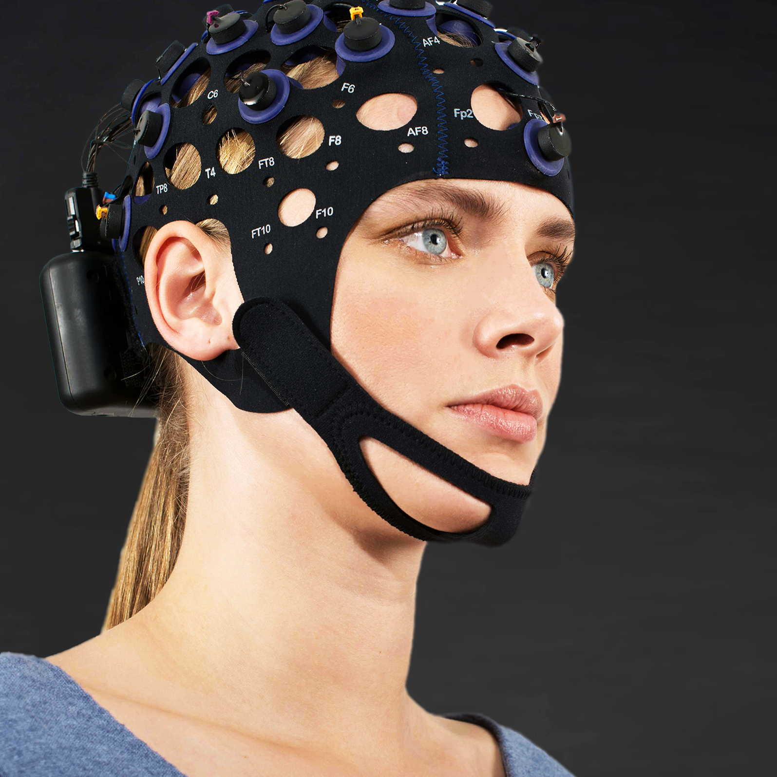 Woman wearing a wet eeg cap